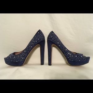 Vince Camuto Blue Heels with Rhinestones  9 1/2